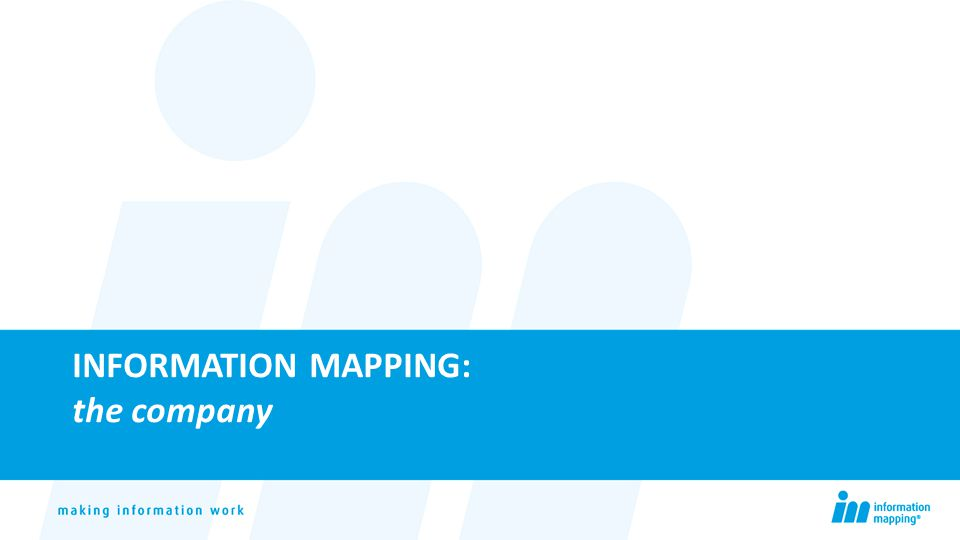 INFORMATION MAPPING: the company