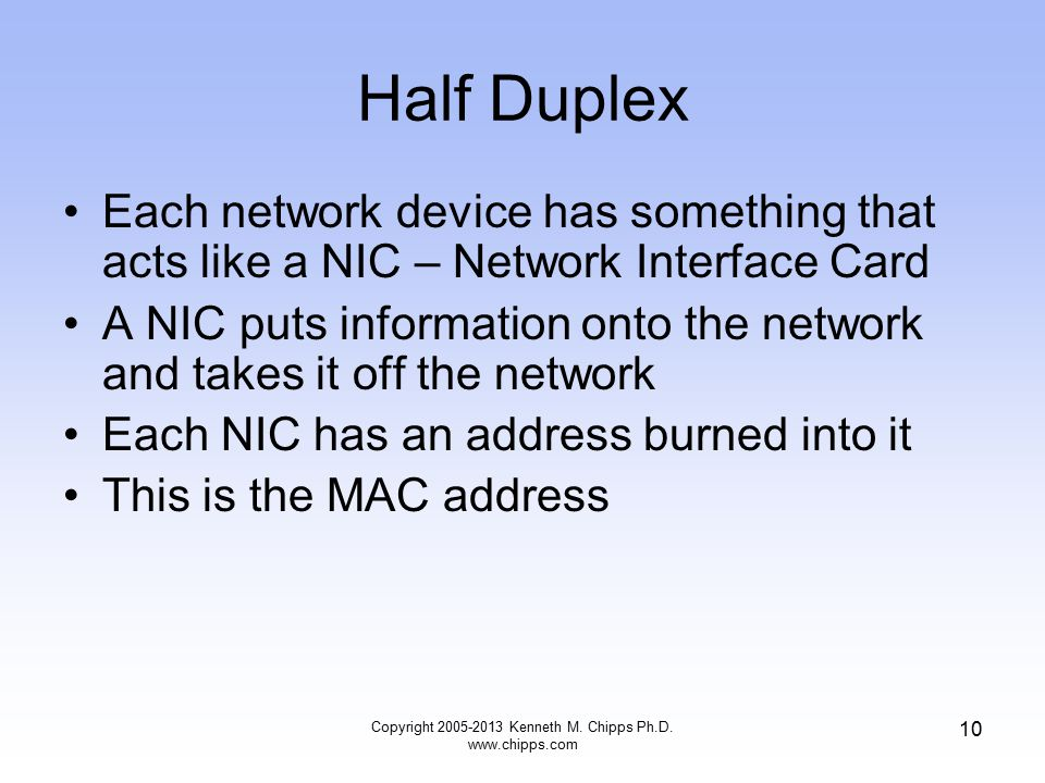 Copyright 2005-2013 Kenneth M. Chipps Ph.D. www.chipps.com 10 Half Duplex Each network device has something that acts like a NIC – Network Interface C
