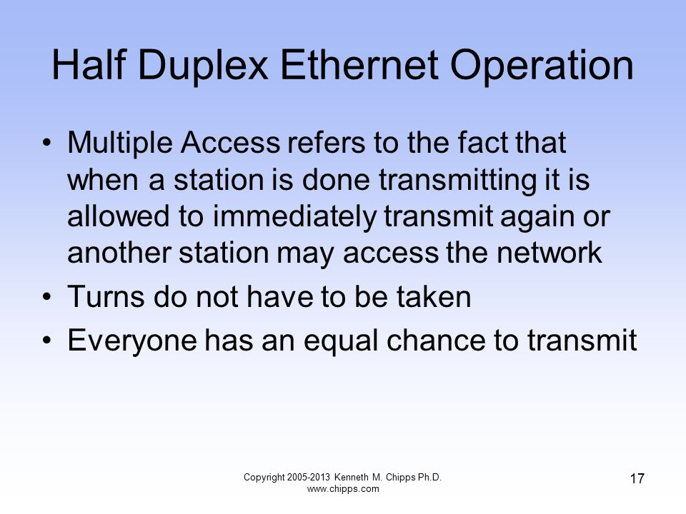 Copyright 2005-2013 Kenneth M. Chipps Ph.D. www.chipps.com 17 Half Duplex Ethernet Operation Multiple Access refers to the fact that when a station is