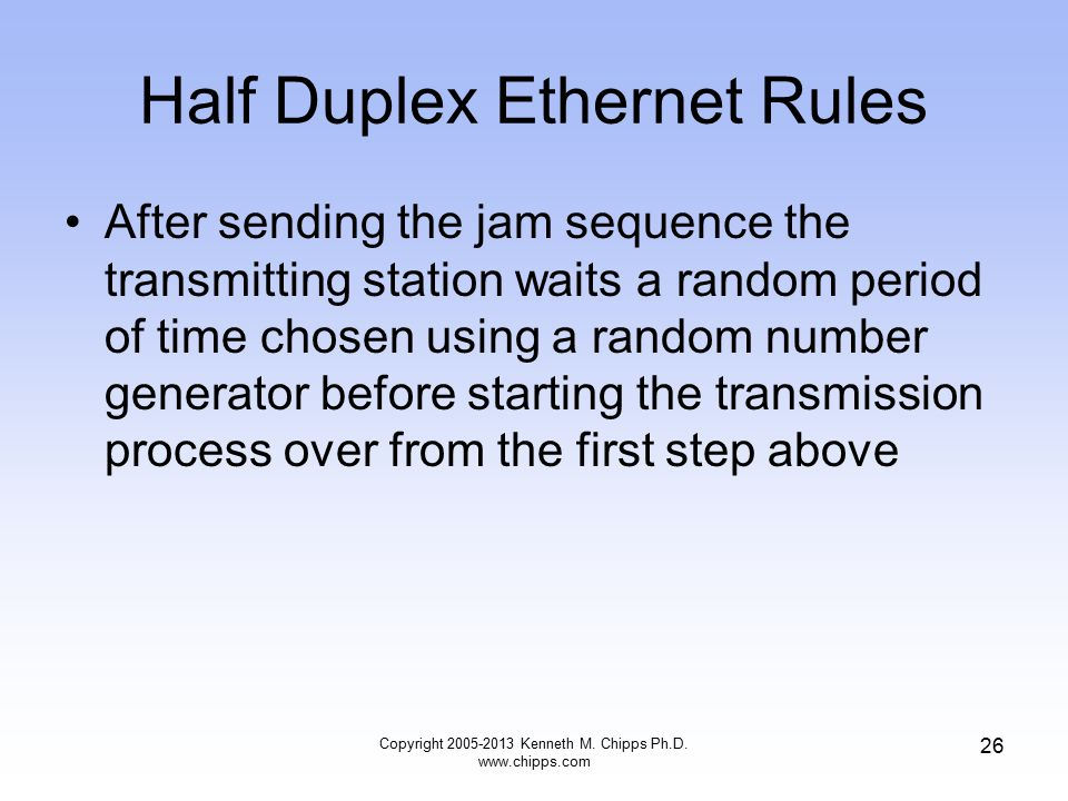 Copyright 2005-2013 Kenneth M. Chipps Ph.D. www.chipps.com 26 Half Duplex Ethernet Rules After sending the jam sequence the transmitting station waits