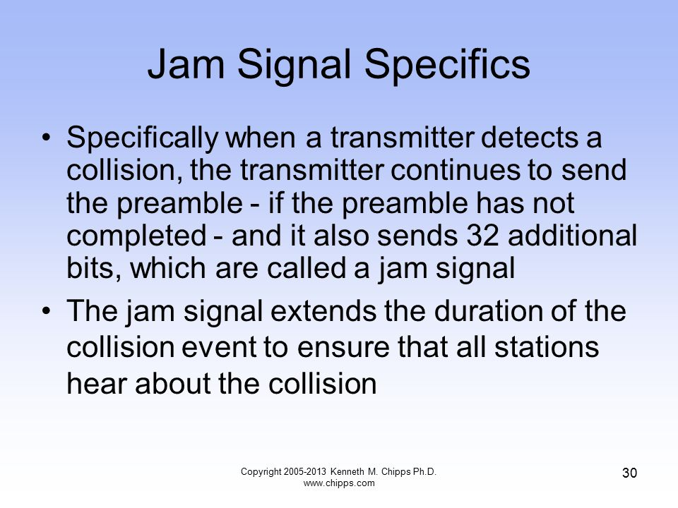Copyright 2005-2013 Kenneth M. Chipps Ph.D. www.chipps.com 30 Jam Signal Specifics Specifically when a transmitter detects a collision, the transmitte