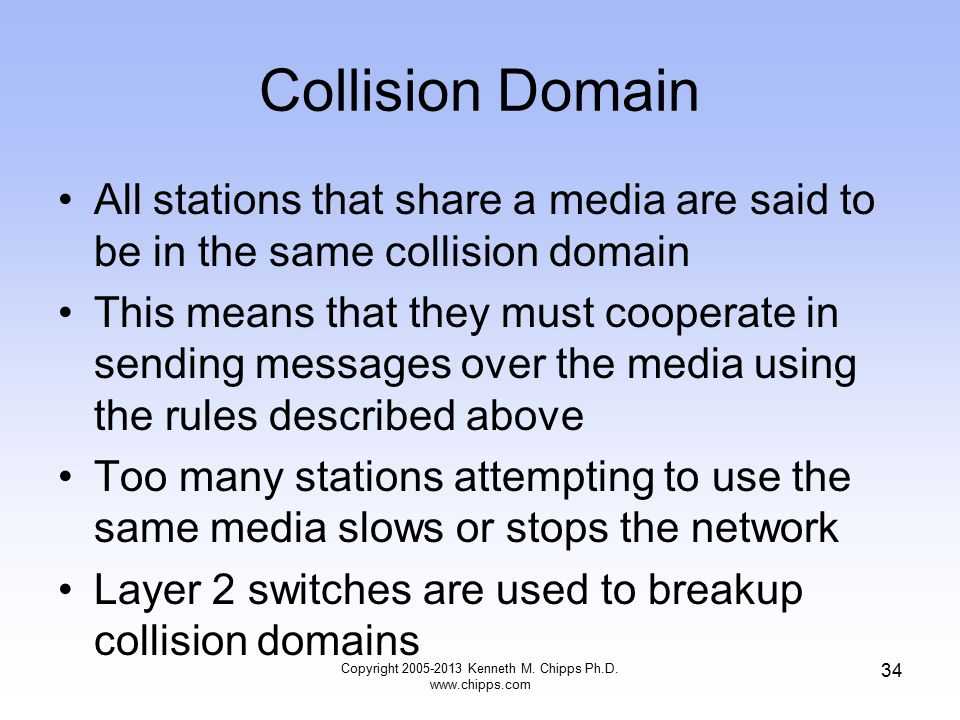 Copyright 2005-2013 Kenneth M. Chipps Ph.D. www.chipps.com 34 Collision Domain All stations that share a media are said to be in the same collision do