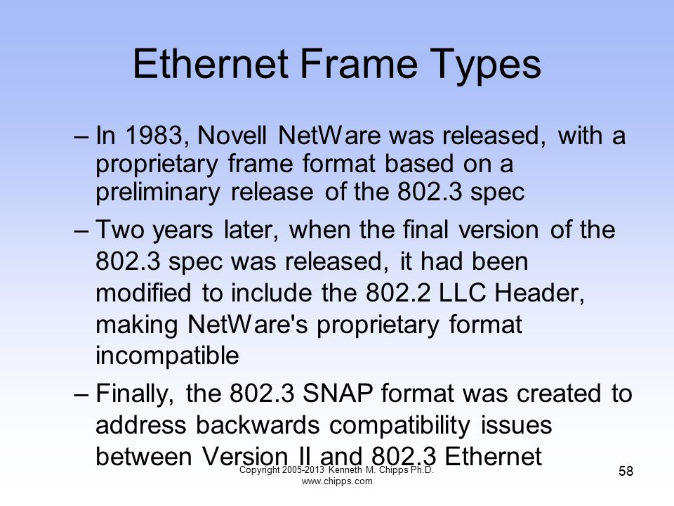Copyright 2005-2013 Kenneth M. Chipps Ph.D. www.chipps.com 58 Ethernet Frame Types –In 1983, Novell NetWare was released, with a proprietary frame for