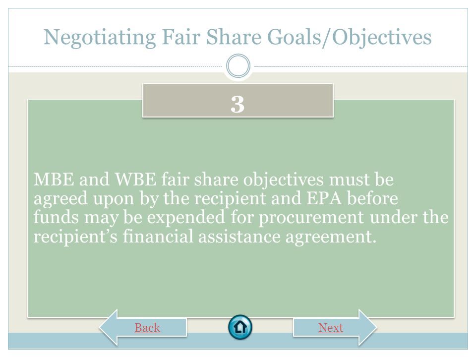 Negotiating Fair Share Goals/Objectives EPA must respond in writing to the recipient's submission within 30 days of receipt, either agreeing with the submission or providing initial comments for further negotiation.