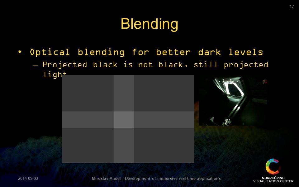 Optical blending for better dark levels –Projected black is not black, still projected light Blending 2014-09-03Miroslav Andel - Development of immers