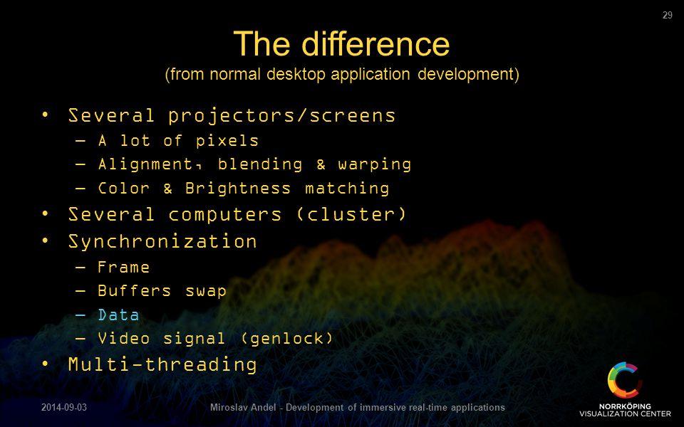 Several projectors/screens –A lot of pixels –Alignment, blending & warping –Color & Brightness matching Several computers (cluster) Synchronization –F