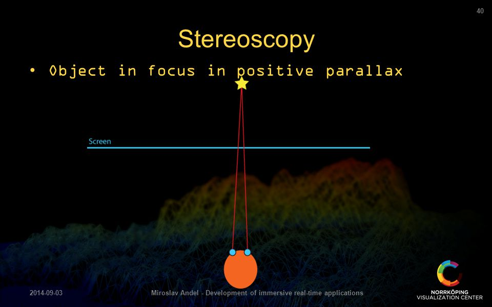 Stereoscopy 2014-09-03Miroslav Andel - Development of immersive real-time applications 40 Object in focus in positive parallax