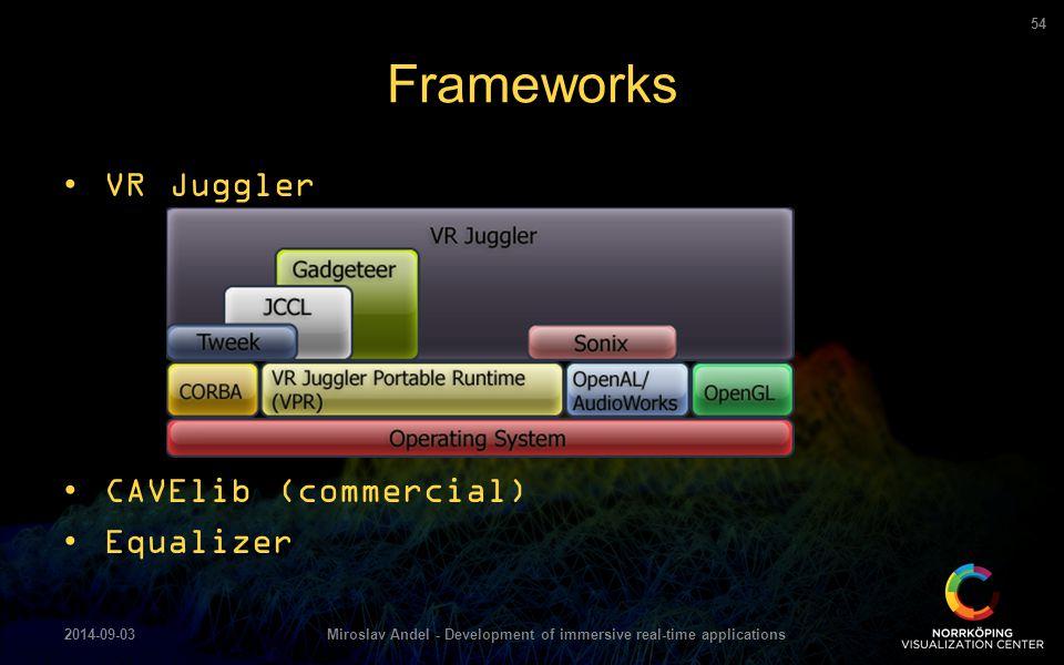 Frameworks 2014-09-03Miroslav Andel - Development of immersive real-time applications 54 VR Juggler CAVElib (commercial) Equalizer