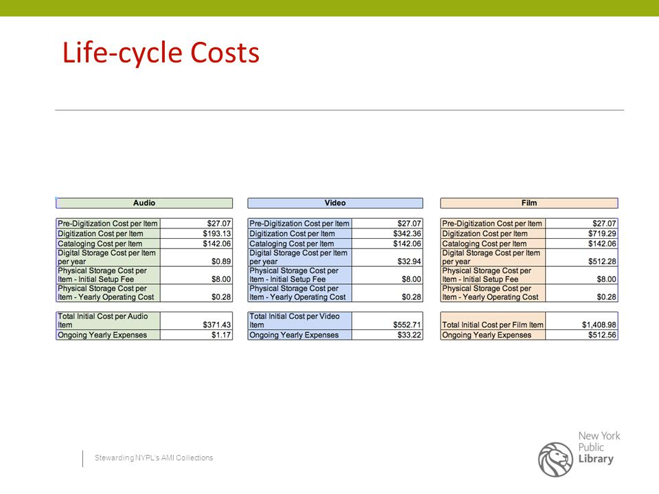 Stewarding NYPL's AMI Collections Life-cycle Costs