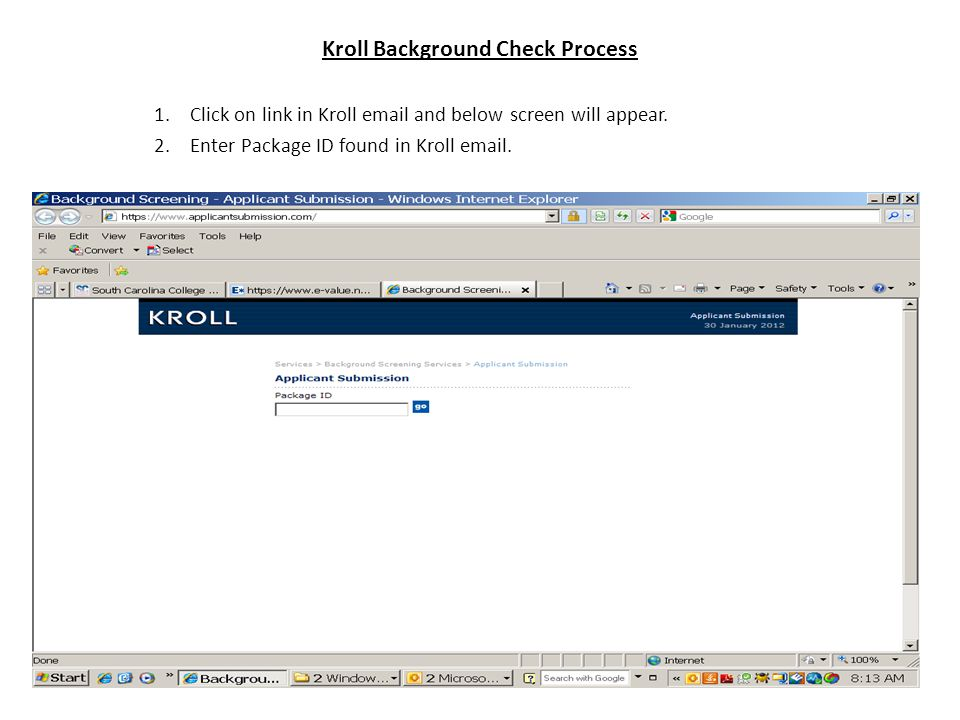 Kroll Background Check Process 1.Click on link in Kroll  and below screen will appear.