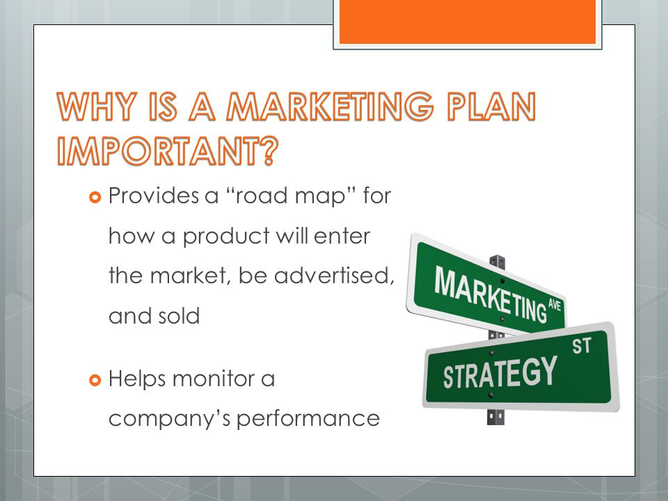 " Provides a ""road map"" for how a product will enter the market, be advertised, and sold  Helps monitor a company's performance"
