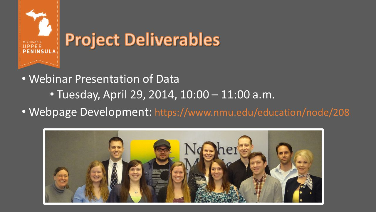Webinar Presentation of Data Tuesday, April 29, 2014, 10:00 – 11:00 a.m.