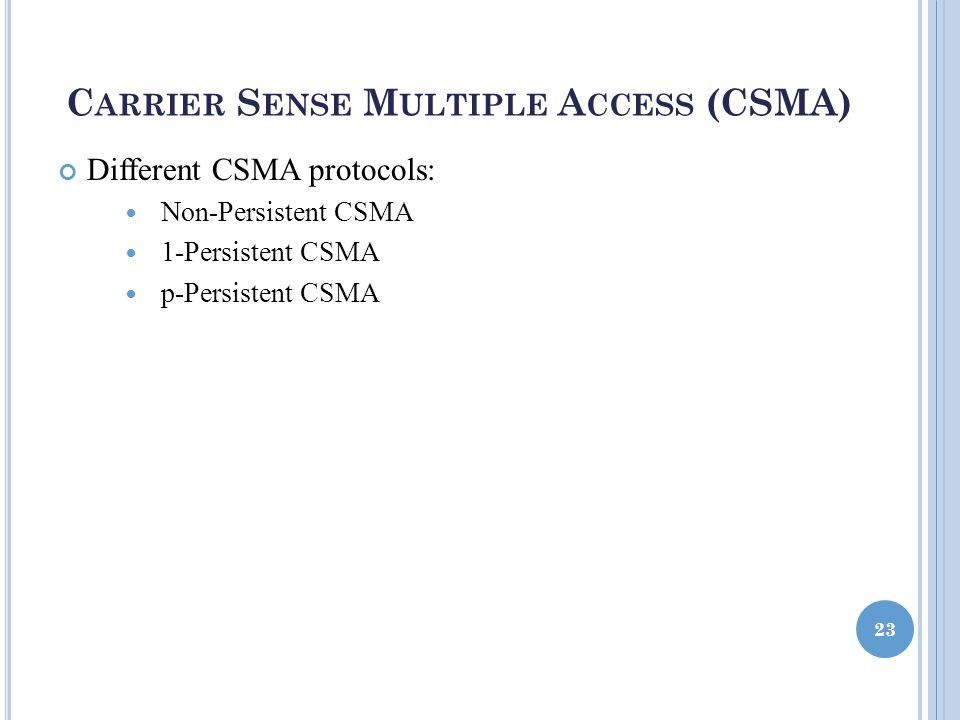 C ARRIER S ENSE M ULTIPLE A CCESS (CSMA) Different CSMA protocols: Non-Persistent CSMA 1-Persistent CSMA p-Persistent CSMA 23