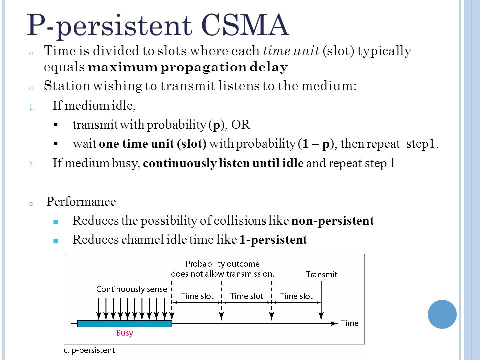 P-persistent CSMA o Time is divided to slots where each time unit (slot) typically equals maximum propagation delay o Station wishing to transmit listens to the medium: 1.