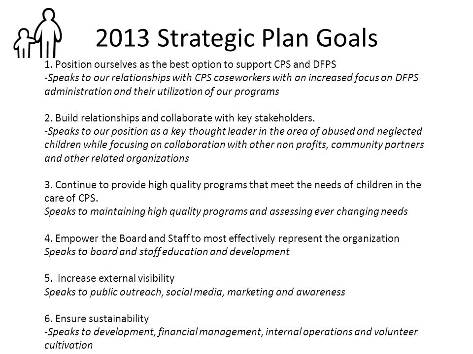 2013 Strategic Plan Goals 1. Position ourselves as the best option to support CPS and DFPS -Speaks to our relationships with CPS caseworkers with an i