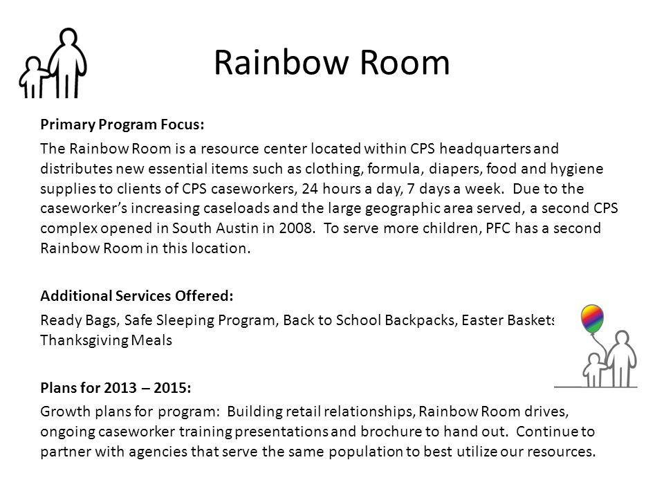 Rainbow Room Primary Program Focus: The Rainbow Room is a resource center located within CPS headquarters and distributes new essential items such as