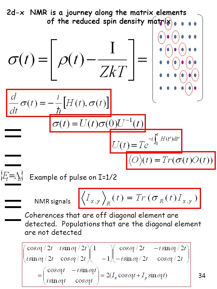 2d-x NMR is a journey along the matrix elements of the reduced spin density matrix Coherences that are off diagonal element are detected. Populations