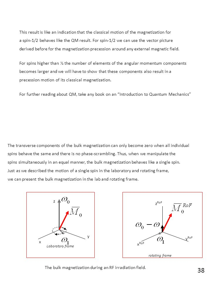 This result is like an indication that the classical motion of the magnetization for a spin-1/2 behaves like the QM result. For spin-1/2 we can use th