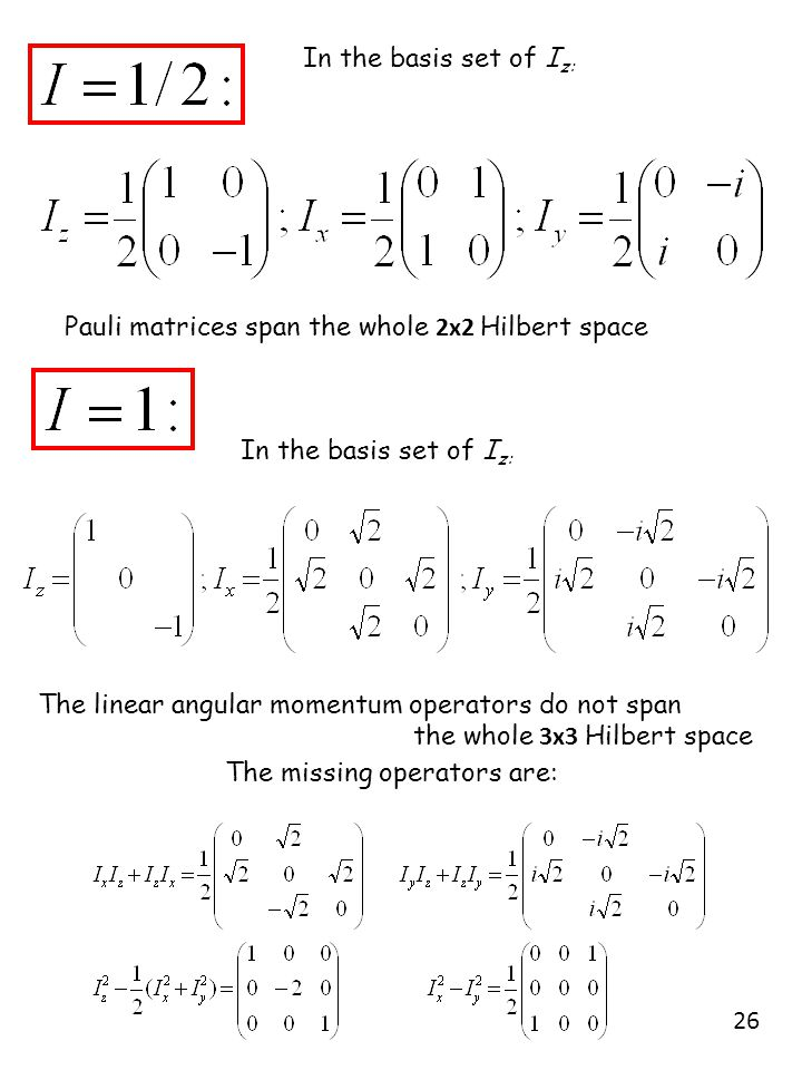 In the basis set of I z: The linear angular momentum operators do not span the whole 3x3 Hilbert space In the basis set of I z: Pauli matrices span th