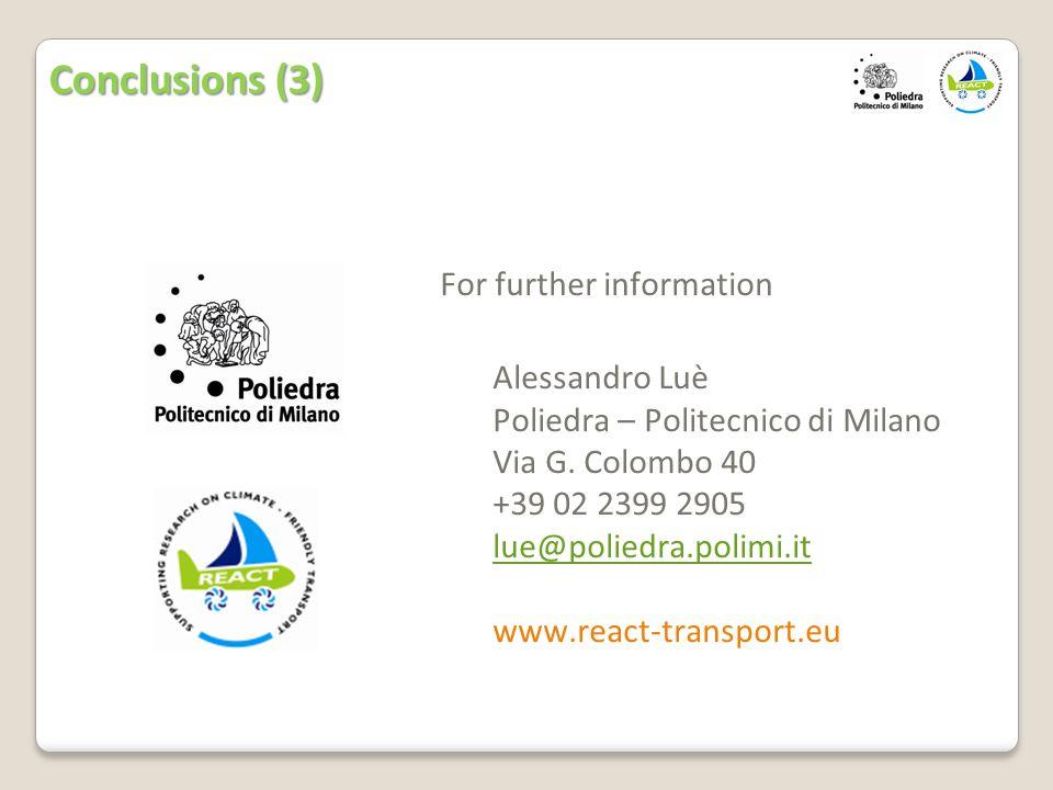 For further information Alessandro Luè Poliedra – Politecnico di Milano Via G.