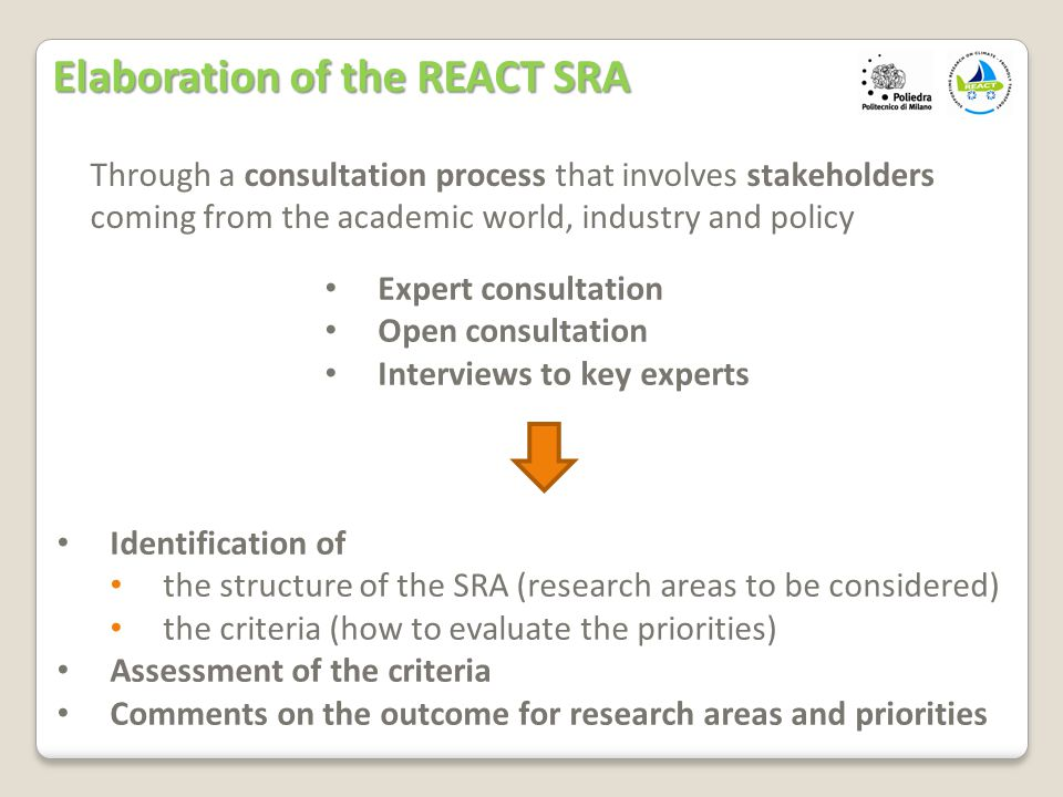 Through a consultation process that involves stakeholders coming from the academic world, industry and policy Identification of the structure of the SRA (research areas to be considered) the criteria (how to evaluate the priorities) Assessment of the criteria Comments on the outcome for research areas and priorities Expert consultation Open consultation Interviews to key experts Elaboration of the REACT SRA