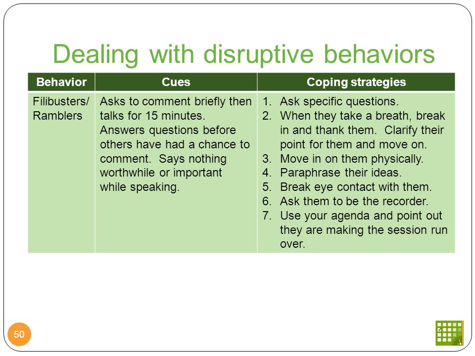 Dealing with disruptive behaviors 50 BehaviorCuesCoping strategies Filibusters/ Ramblers Asks to comment briefly then talks for 15 minutes.