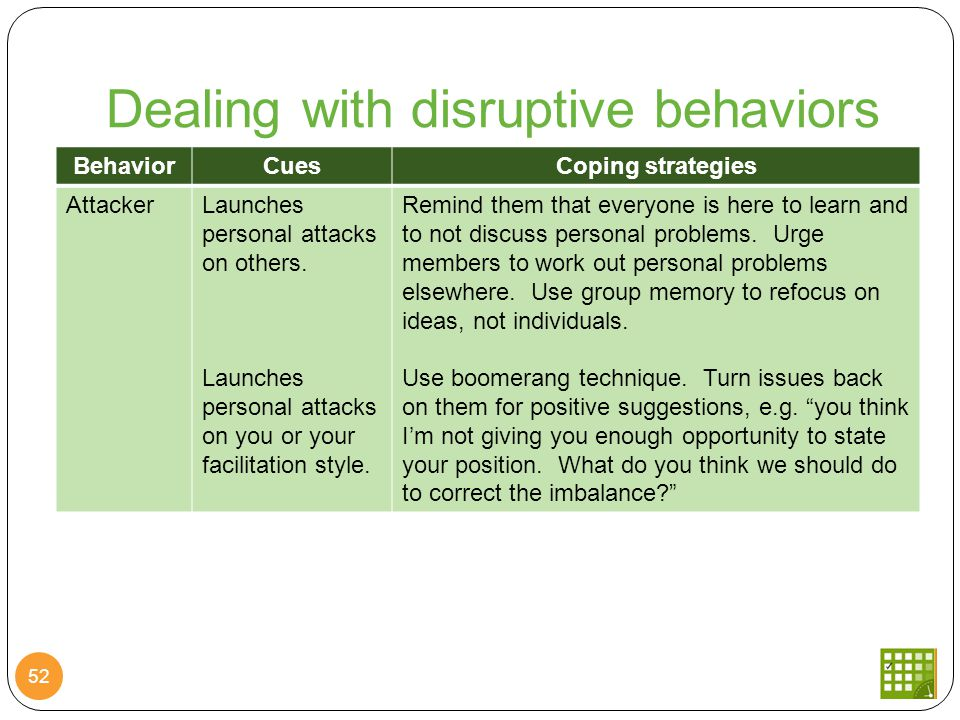 Dealing with disruptive behaviors 52 BehaviorCuesCoping strategies AttackerLaunches personal attacks on others.