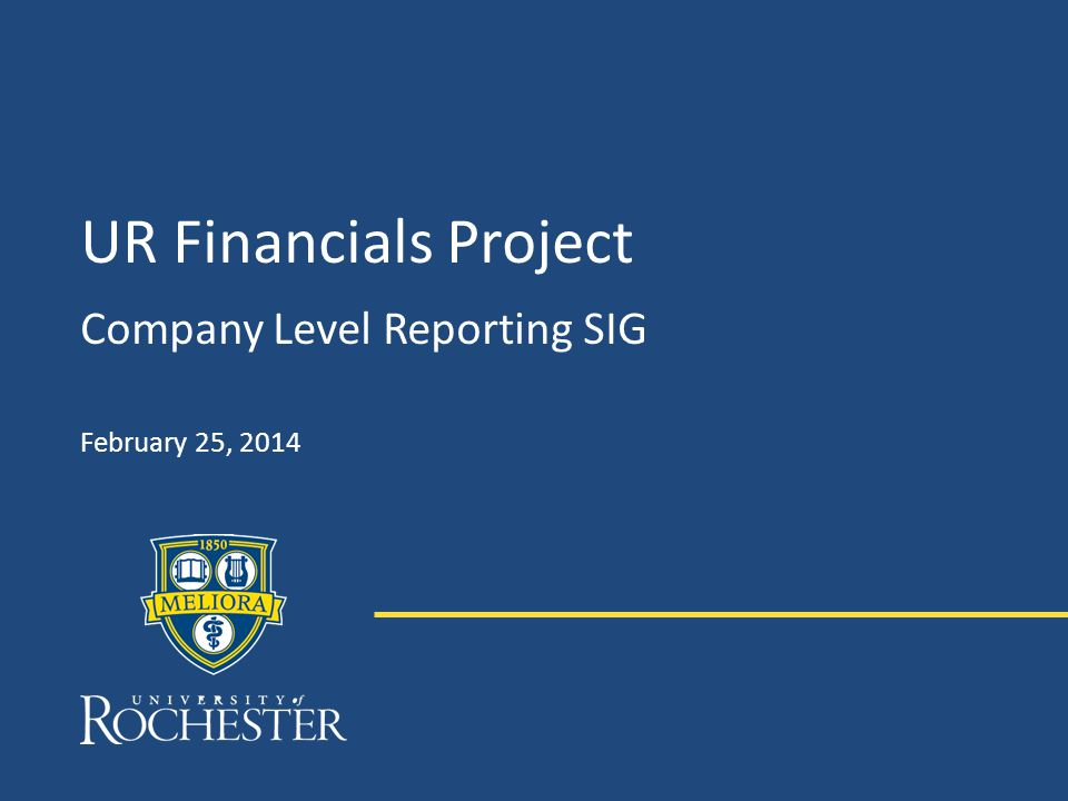 UR Financials Project Company Level Reporting SIG February 25, 2014