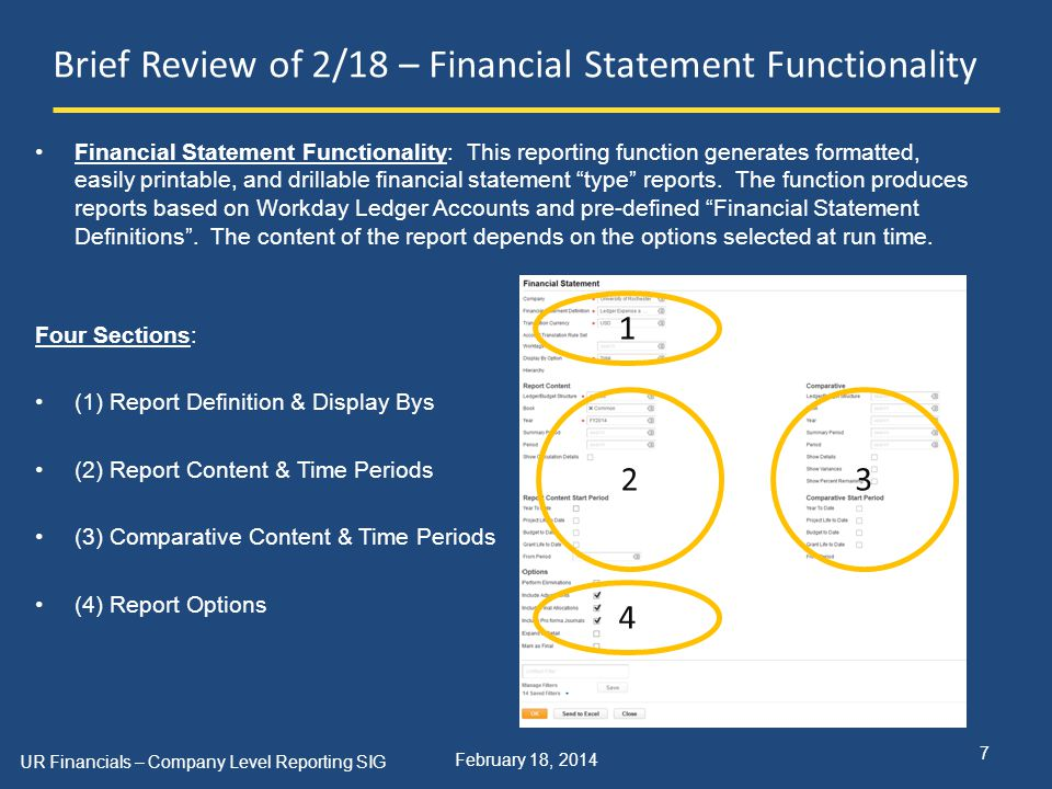 February 18, 2014 Brief Review of 2/18 – Financial Statement Functionality Financial Statement Functionality: This reporting function generates formatted, easily printable, and drillable financial statement type reports.