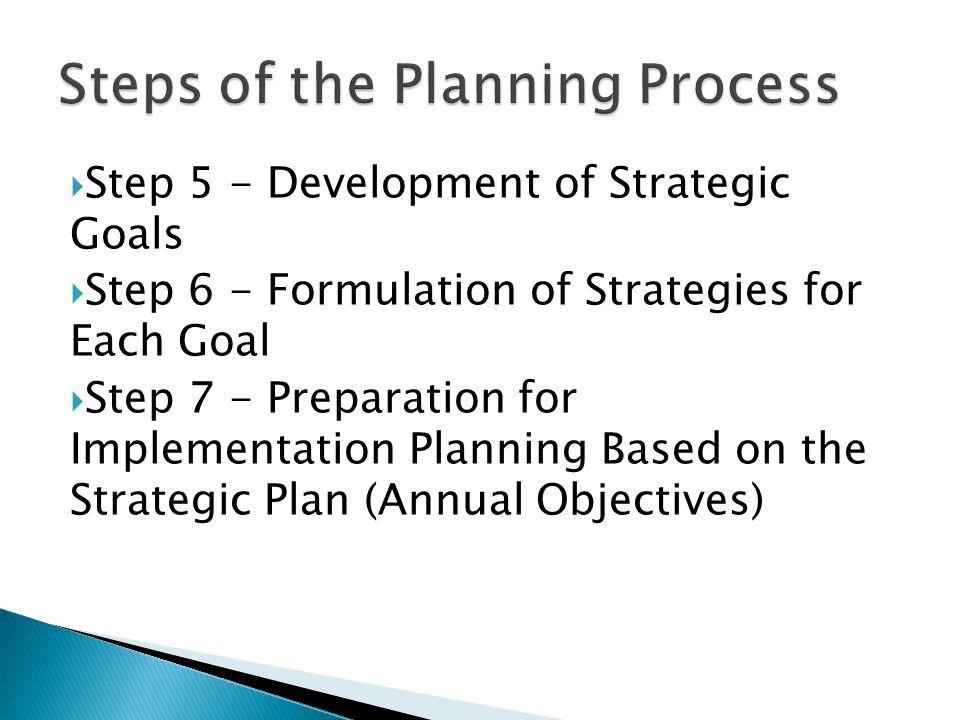  Step 5 - Development of Strategic Goals  Step 6 - Formulation of Strategies for Each Goal  Step 7 - Preparation for Implementation Planning Based on the Strategic Plan (Annual Objectives)