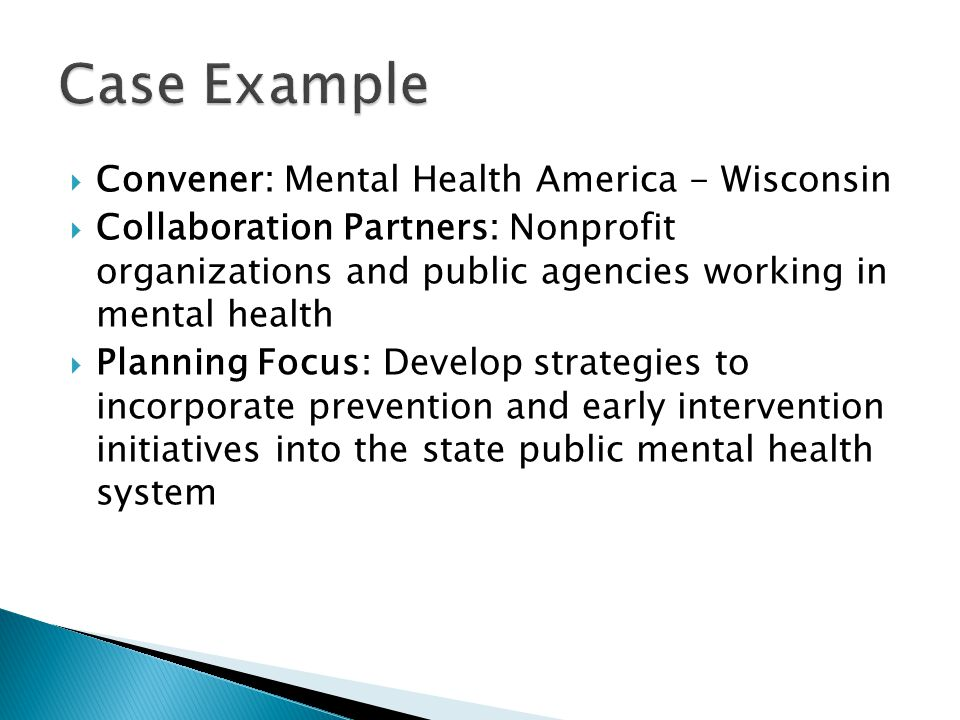  Convener: Mental Health America - Wisconsin  Collaboration Partners: Nonprofit organizations and public agencies working in mental health  Plannin