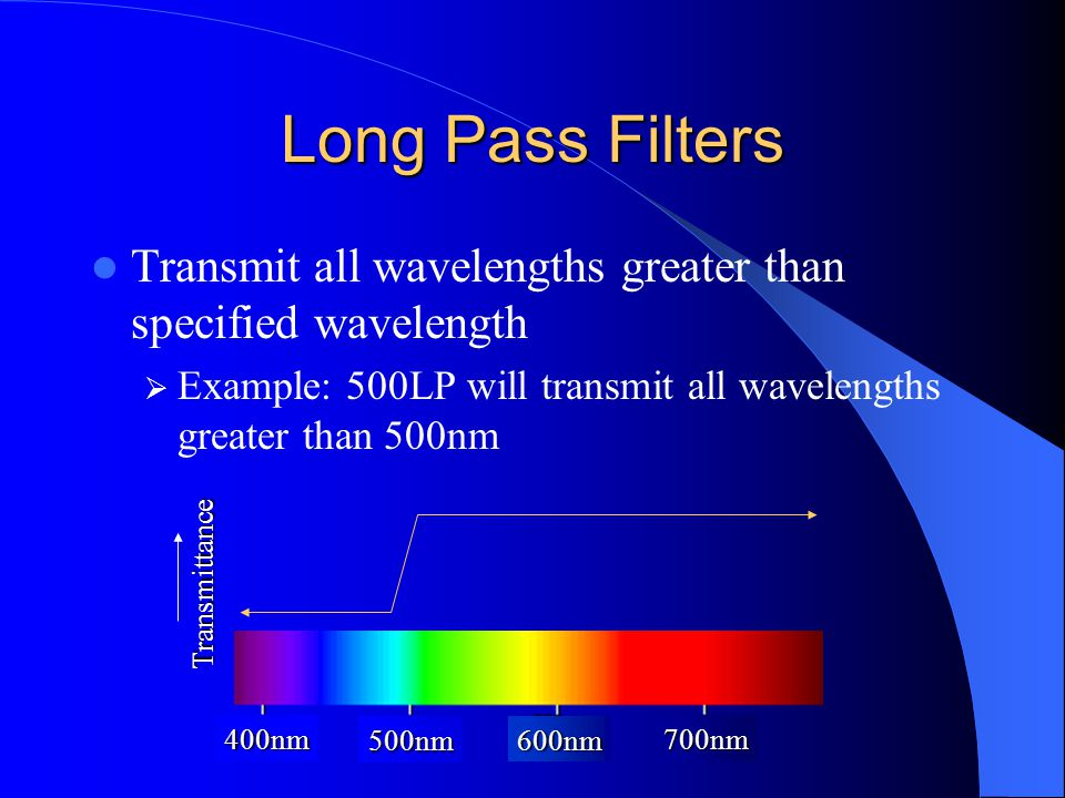 Long Pass Filters Transmit all wavelengths greater than specified wavelength  Example: 500LP will transmit all wavelengths greater than 500nm 400nm 500nm 600nm 700nm Transmittance