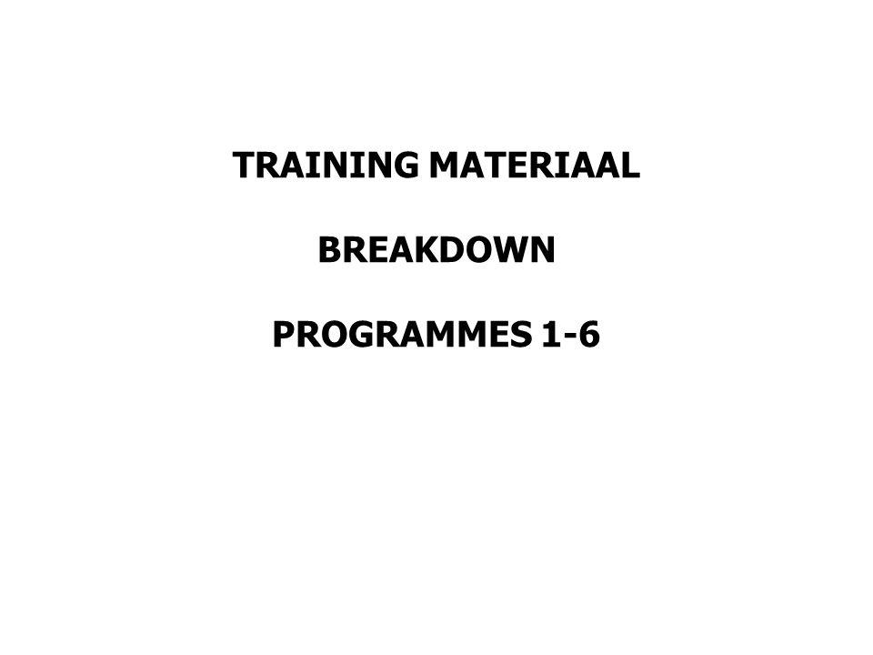 TRAINING MATERIAAL BREAKDOWN PROGRAMMES 1-6