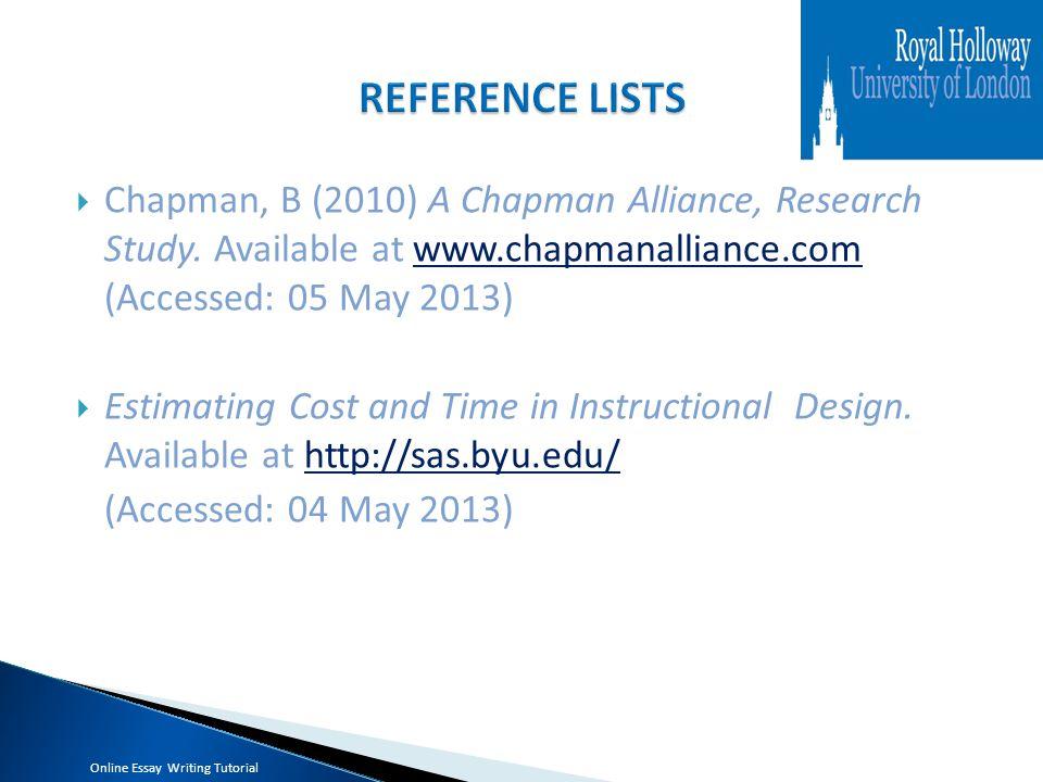  Chapman, B (2010) A Chapman Alliance, Research Study.