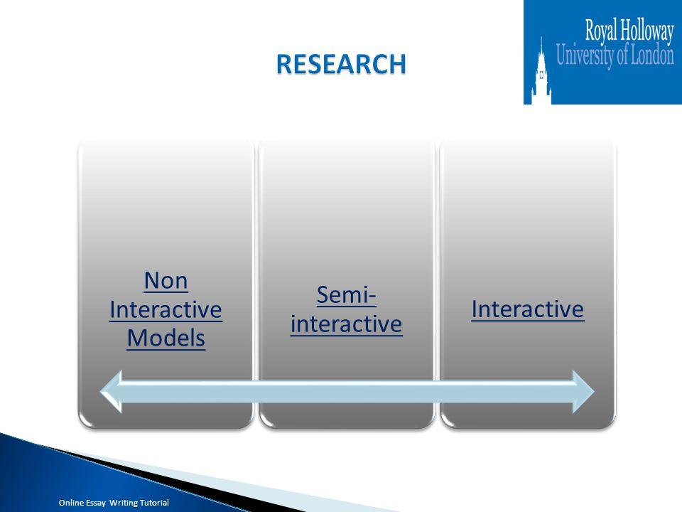 Non Interactive Models Non Interactive Models Semi- interactive Semi- interactive Interactive Online Essay Writing Tutorial