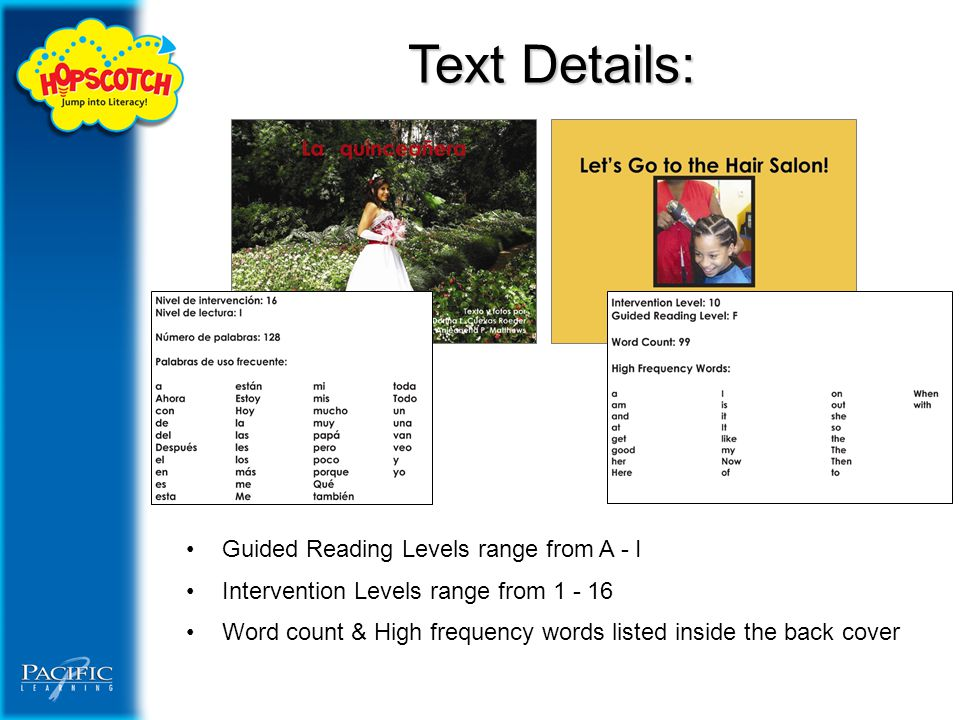 Text Details: Guided Reading Levels range from A - I Intervention Levels range from 1 - 16 Word count & High frequency words listed inside the back cover