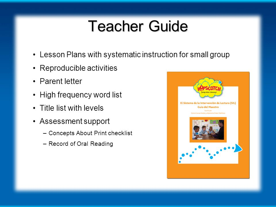 Teacher Guide Lesson Plans with systematic instruction for small group Reproducible activities Parent letter High frequency word list Title list with levels Assessment support –Concepts About Print checklist –Record of Oral Reading