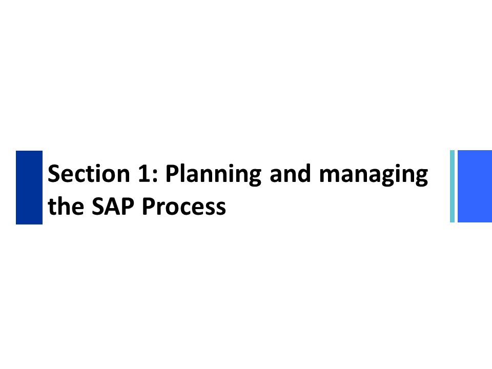 Section 1: Planning and managing the SAP Process