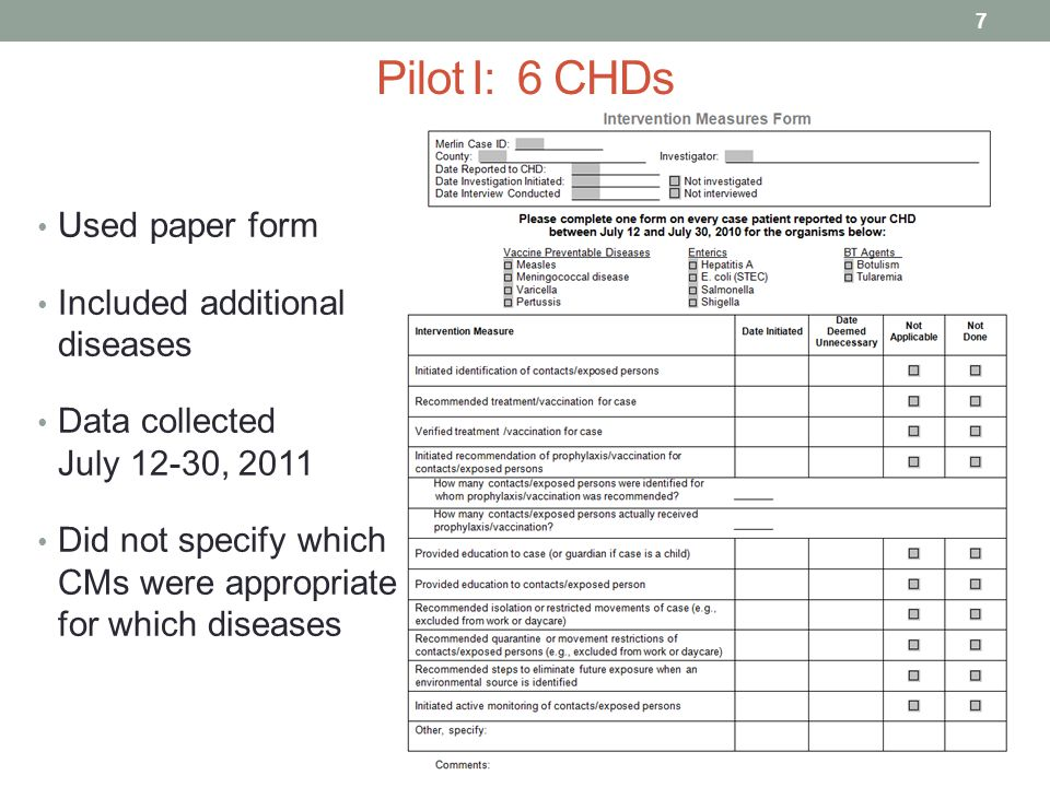 Pilot I: 6 CHDs Used paper form Included additional diseases Data collected July 12-30, 2011 Did not specify which CMs were appropriate for which diseases 7