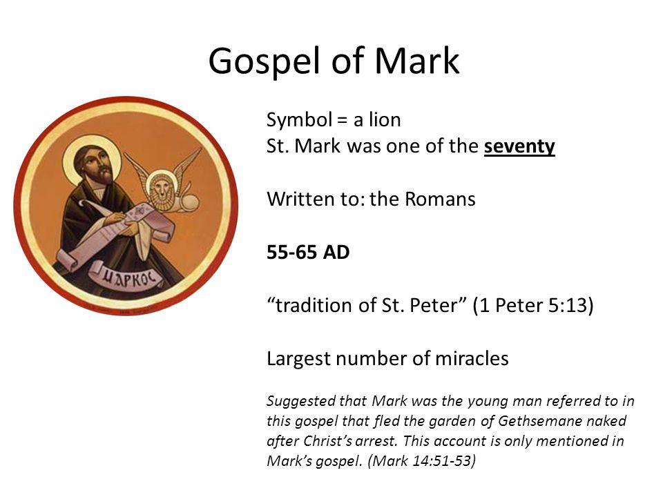 Gospel of Mark Symbol = a lion St.