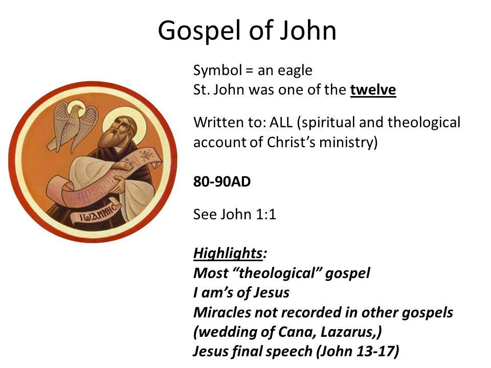Gospel of John Symbol = an eagle St.