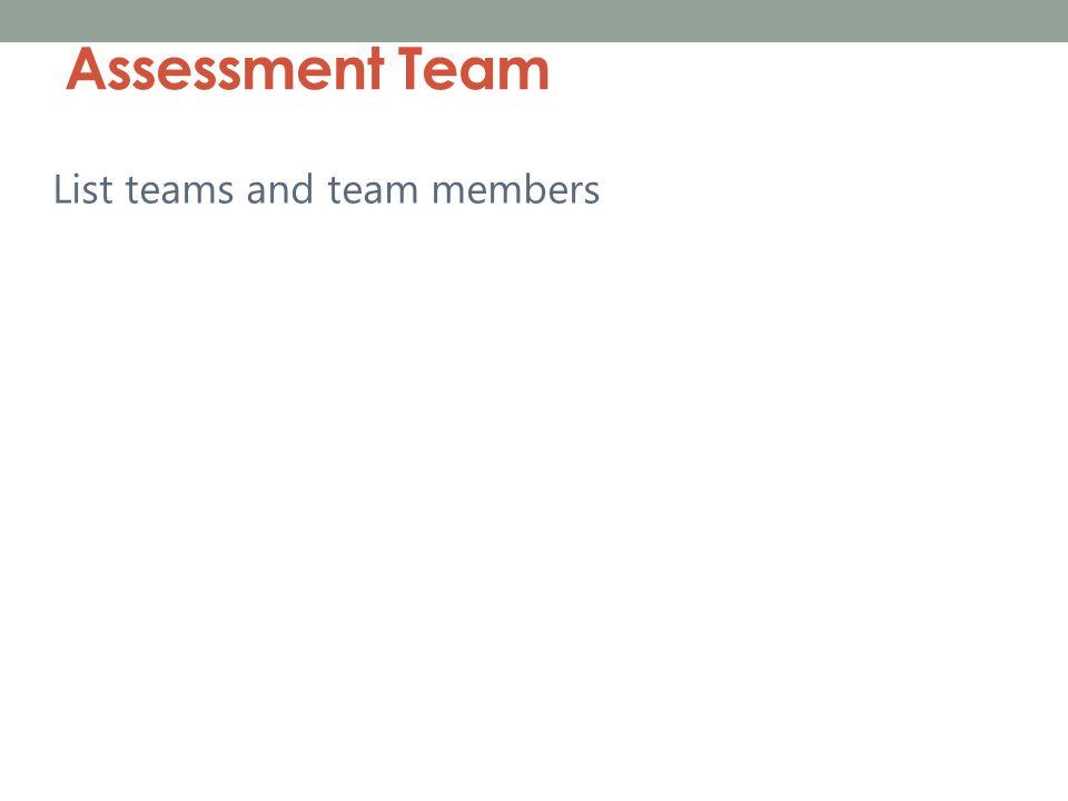 Assessment Team List teams and team members