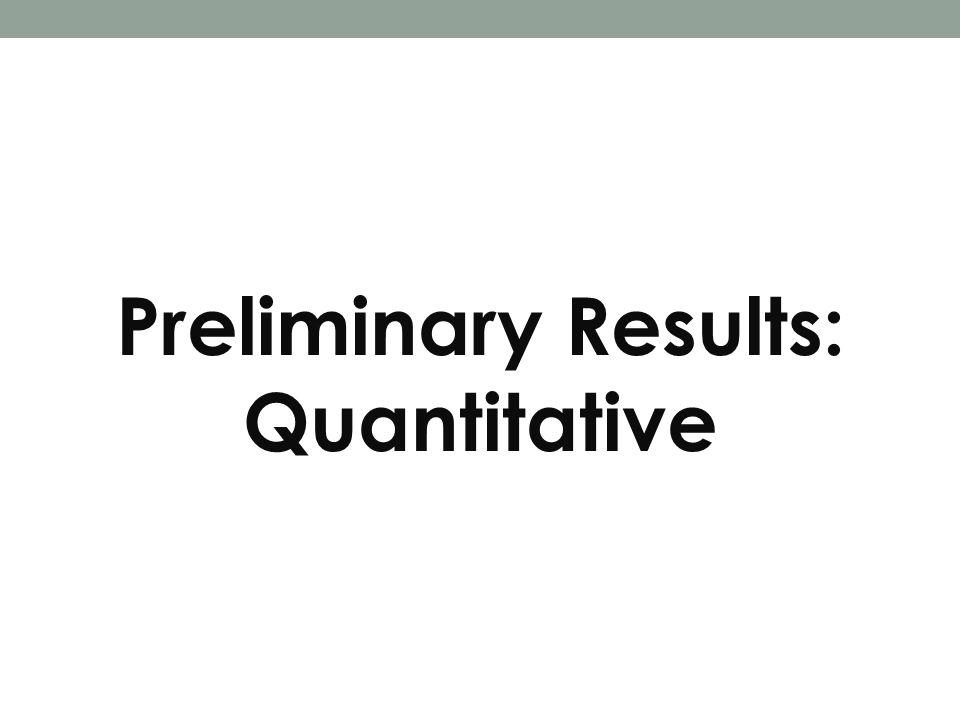 Preliminary Results: Quantitative