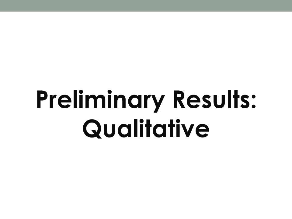 Preliminary Results: Qualitative