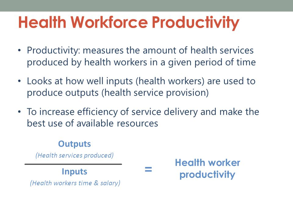 Productivity by Health Facility  = Benchmark  Facility Name [Insert Health Workforce Productivity Dashboard from Stage 1, Step 8 of the Toolkit]