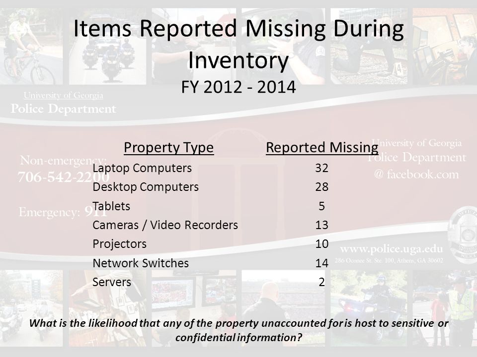 Items Reported Missing During Inventory FY 2012 - 2014 Property Type Laptop Computers Desktop Computers Tablets Cameras / Video Recorders Projectors Network Switches Servers Reported Missing 32 28 5 13 10 14 2 What is the likelihood that any of the property unaccounted for is host to sensitive or confidential information