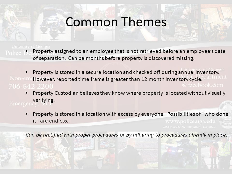 Common Themes Property assigned to an employee that is not retrieved before an employee's date of separation.