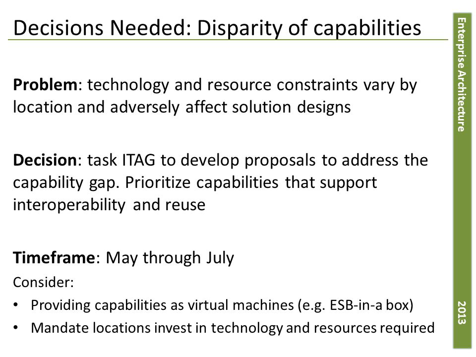 Enterprise Architecture 2013 Decisions Needed: Disparity of capabilities Problem: technology and resource constraints vary by location and adversely affect solution designs Decision: task ITAG to develop proposals to address the capability gap.