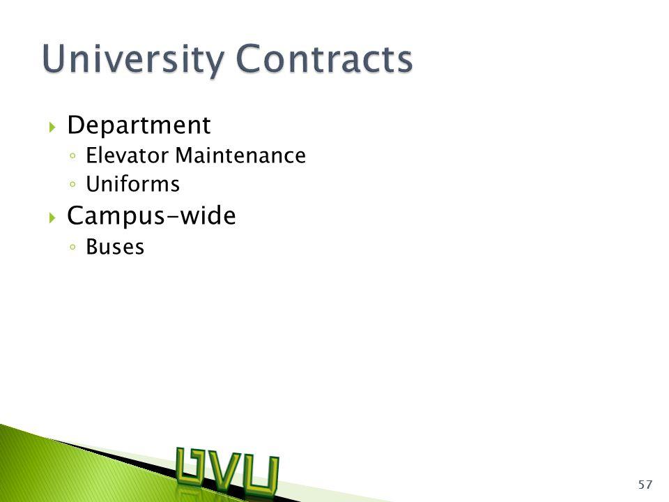  Department ◦ Elevator Maintenance ◦ Uniforms  Campus-wide ◦ Buses 57