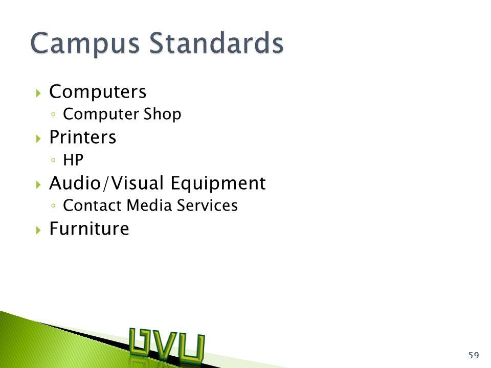  Computers ◦ Computer Shop  Printers ◦ HP  Audio/Visual Equipment ◦ Contact Media Services  Furniture 59